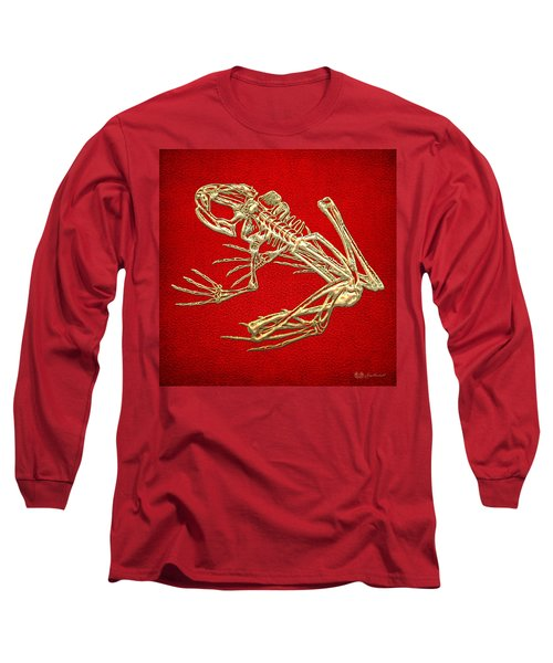 Gold Frog Skeleton On Red Leather Long Sleeve T-Shirt
