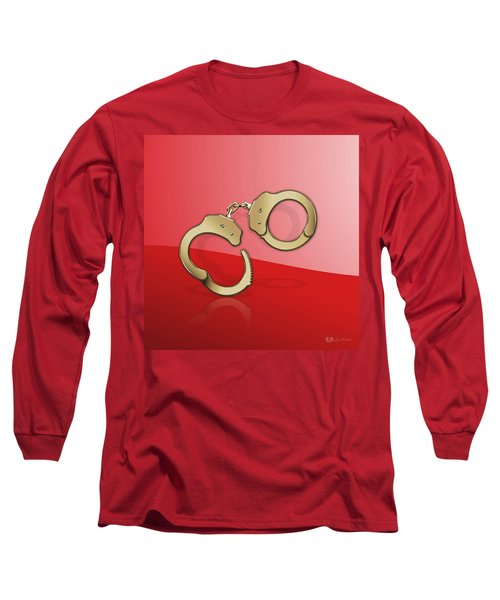 Gold Handcuffs On Red Long Sleeve T-Shirt
