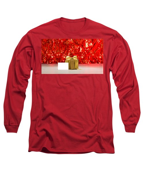 Long Sleeve T-Shirt featuring the photograph Gold Present With Place Card  by Ulrich Schade