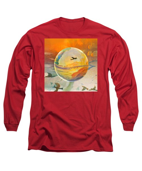 Long Sleeve T-Shirt featuring the painting Golden Age Of Flight by Robin Moline