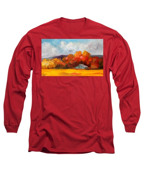 Golden Autumn Blue Country Horse Barn Long Sleeve T-Shirt by Michele Carter