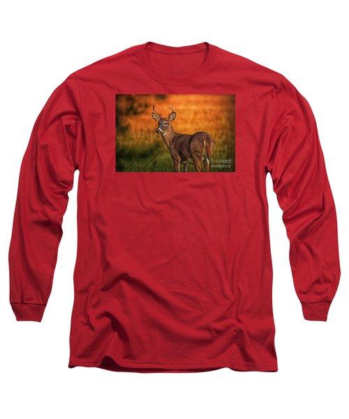 Golden Buck Long Sleeve T-Shirt by Geraldine DeBoer