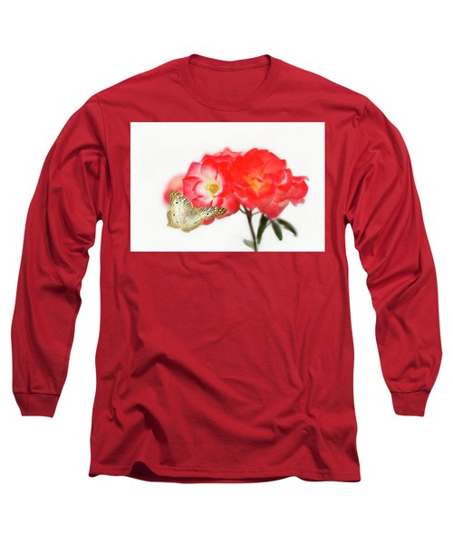 Golden Butterfly On Roses Long Sleeve T-Shirt