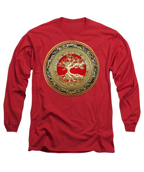 Golden Celtic Tree Of Life  Long Sleeve T-Shirt by Serge Averbukh
