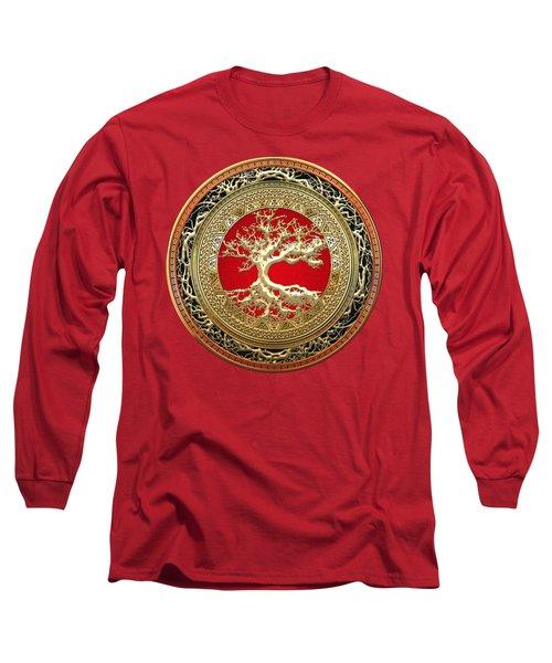 Golden Celtic Tree Of Life  Long Sleeve T-Shirt