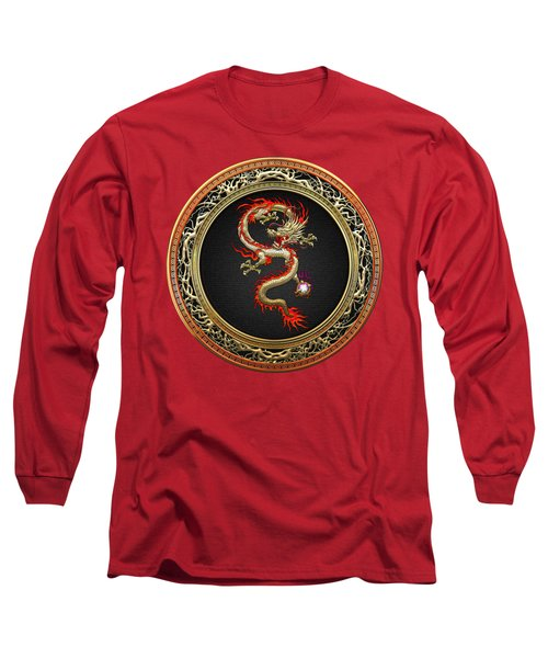 Golden Chinese Dragon Fucanglong Long Sleeve T-Shirt by Serge Averbukh