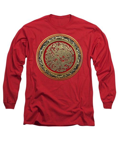 Golden Chinese Dragon On Red Velvet Long Sleeve T-Shirt by Serge Averbukh
