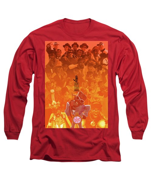 Long Sleeve T-Shirt featuring the digital art Golden Era Icons Collage 1 by Nelson dedos Garcia