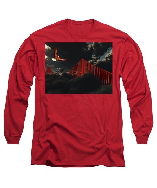 Long Sleeve T-Shirt featuring the digital art Golden Gate Bridge In Heavy Fog Clouds With Eagle by Bruce Rolff