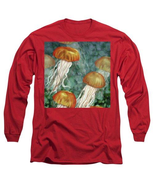 Golden Jellyfish In Green Sea Long Sleeve T-Shirt