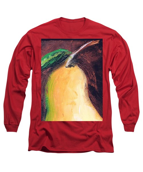 Long Sleeve T-Shirt featuring the painting Golden Pear.. by Jolanta Anna Karolska