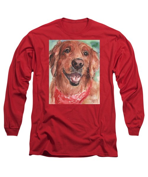 Golden Retriever Dog In Watercolori Long Sleeve T-Shirt by Maria's Watercolor