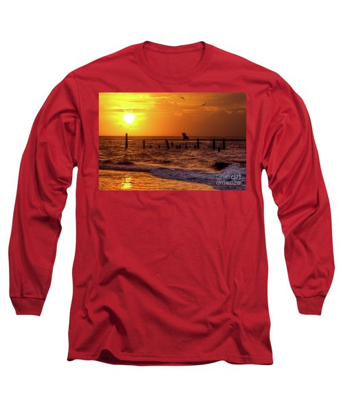 Long Sleeve T-Shirt featuring the photograph Golden Sunrise On The Outer Banks by Dan Carmichael