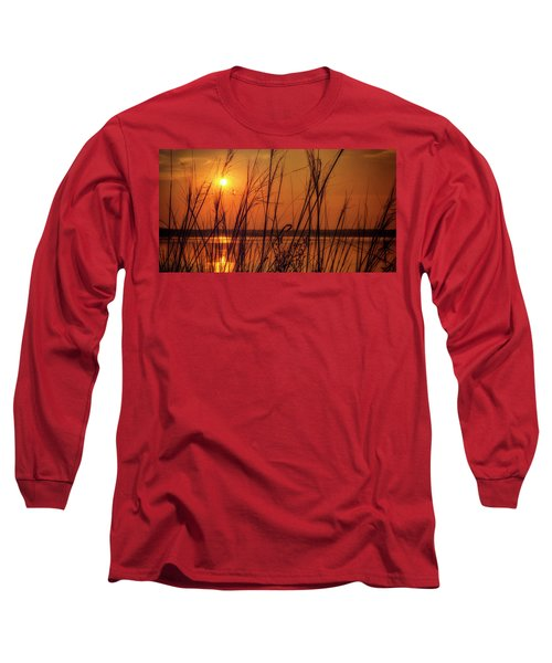 Golden Sunset At The Lake Long Sleeve T-Shirt by John Williams