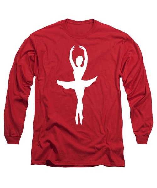 Graceful Silhouette Of Dancing Ballerina Long Sleeve T-Shirt