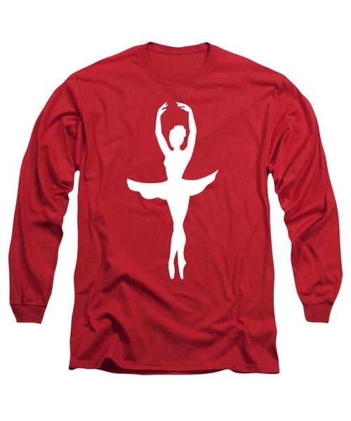 Graceful Silhouette Of Dancing Ballerina Long Sleeve T-Shirt