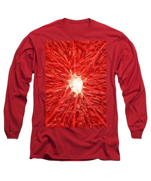 Grapefruit Close-up Long Sleeve T-Shirt by Johan Swanepoel
