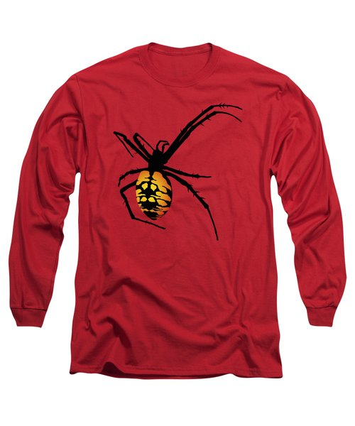 Graphic Spider Black And Yellow Orange Long Sleeve T-Shirt by MM Anderson