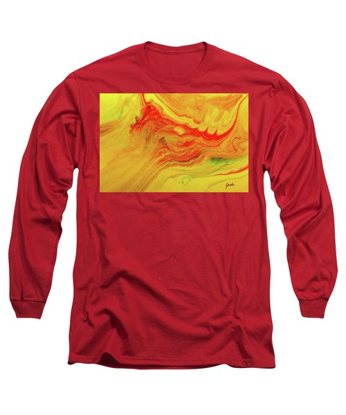 Gratitude - Red And Yellow Colorful Abstract Art Painting Long Sleeve T-Shirt