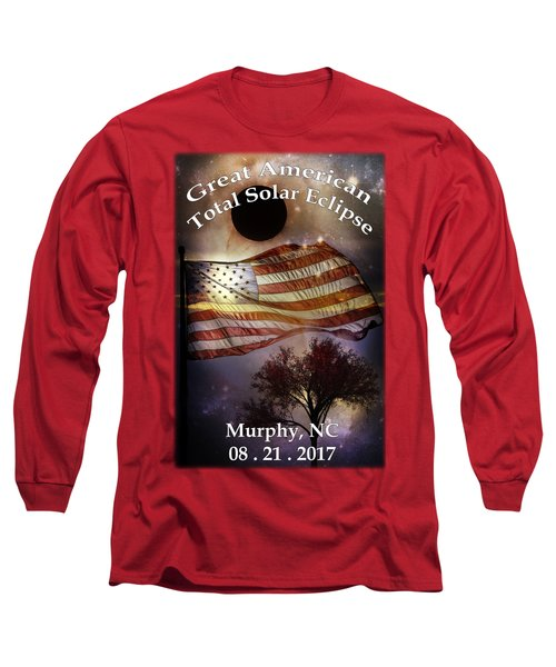 Great American Eclipse American Flag T Shirt Art Long Sleeve T-Shirt