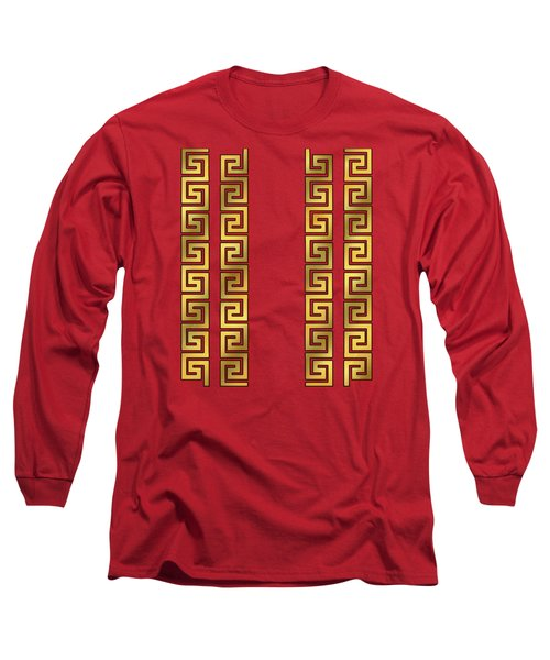 Greek Gold Pattern - Chuck Staley Long Sleeve T-Shirt by Chuck Staley