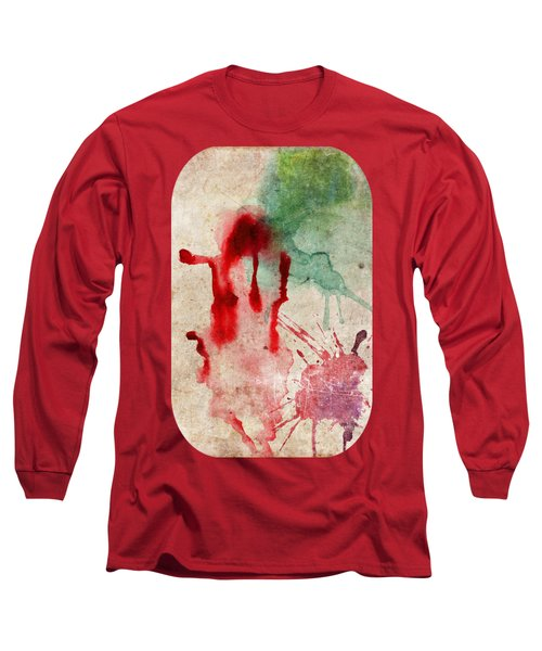 Green And Red Color Splash Long Sleeve T-Shirt