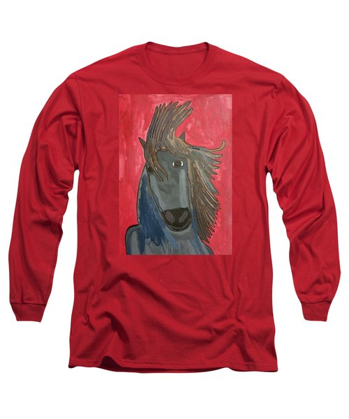 Grey Horse Long Sleeve T-Shirt by Artists With Autism Inc