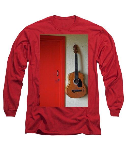 Guitar And Red Door Long Sleeve T-Shirt