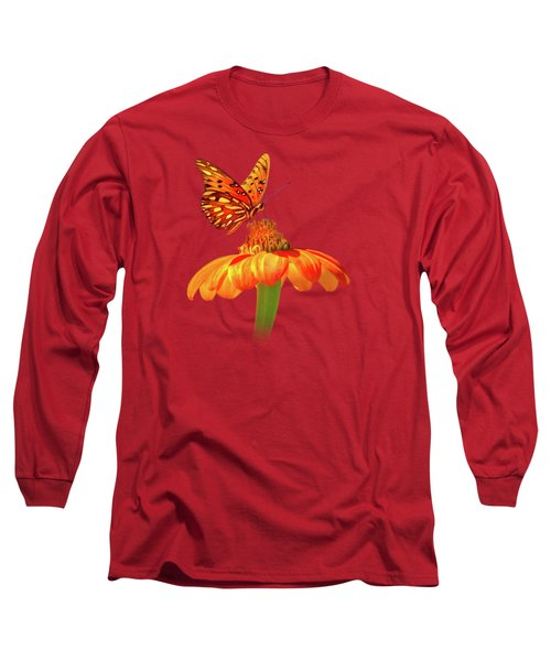 Gulf Fritillary Landing Long Sleeve T-Shirt by Mark Andrew Thomas