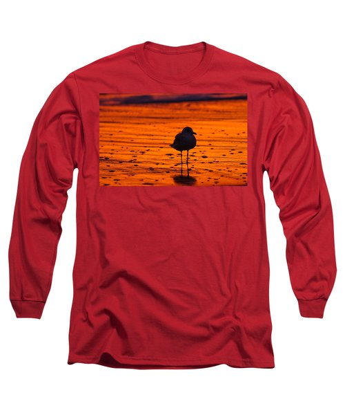 Gull Caught At Sunrise Long Sleeve T-Shirt by Allan Levin