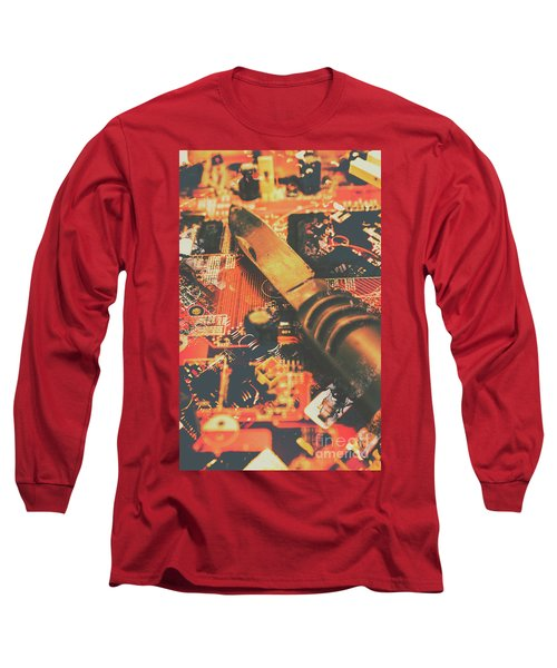 Hacking Knife On Circuit Board Long Sleeve T-Shirt