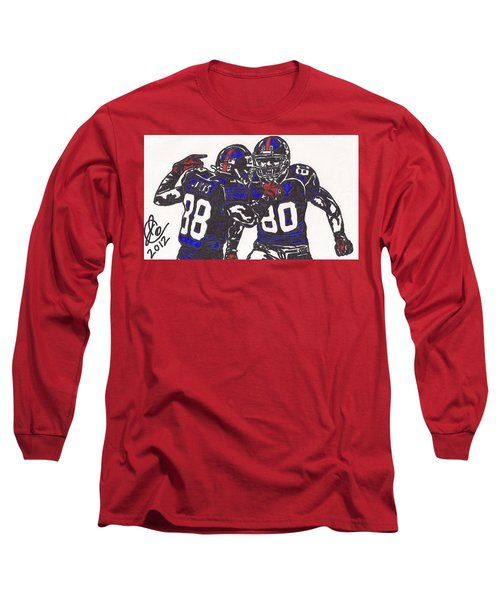 Hakeem Nicks And Victor Cruz Long Sleeve T-Shirt by Jeremiah Colley