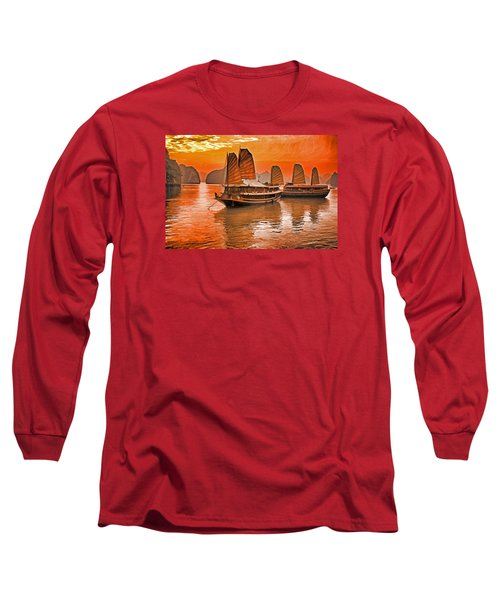 Long Sleeve T-Shirt featuring the photograph Halong Bay Junks by Dennis Cox WorldViews