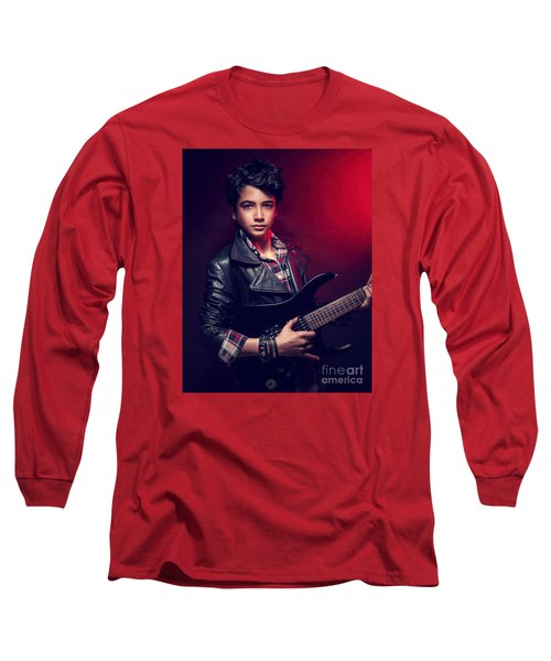 Handsome Guy With Guitar Long Sleeve T-Shirt