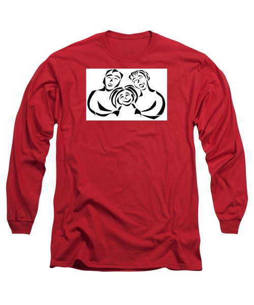 Long Sleeve T-Shirt featuring the mixed media Happy Family by Delin Colon