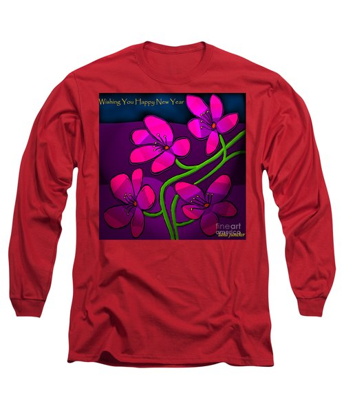 Long Sleeve T-Shirt featuring the digital art Happy New Year by Latha Gokuldas Panicker