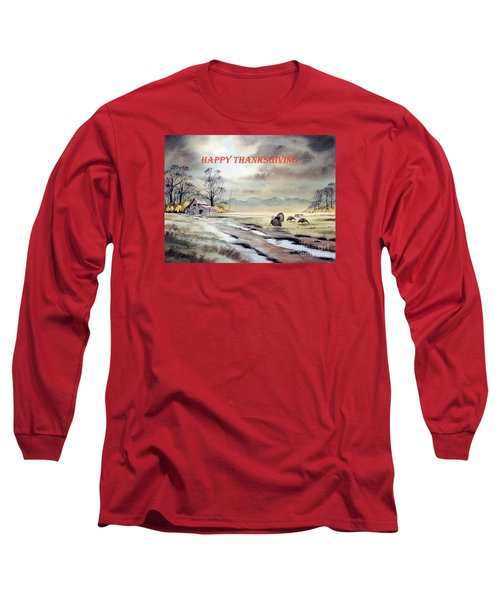 Long Sleeve T-Shirt featuring the painting Happy Thanksgiving  by Bill Holkham