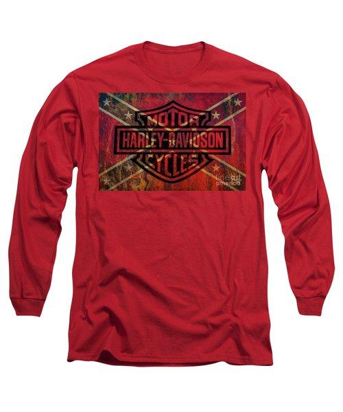 Harley Davidson Logo Confederate Flag Long Sleeve T-Shirt
