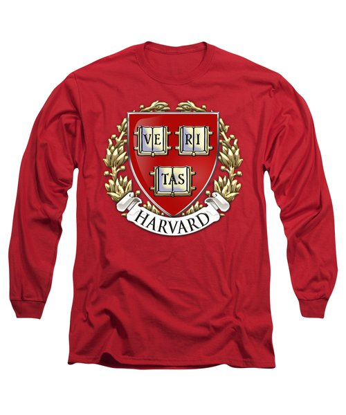 Harvard University Seal - Coat Of Arms Over Colours Long Sleeve T-Shirt by Serge Averbukh