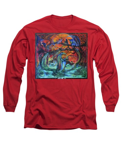 Long Sleeve T-Shirt featuring the painting Harvesters Of The Autumnal Swamp by Christophe Ennis