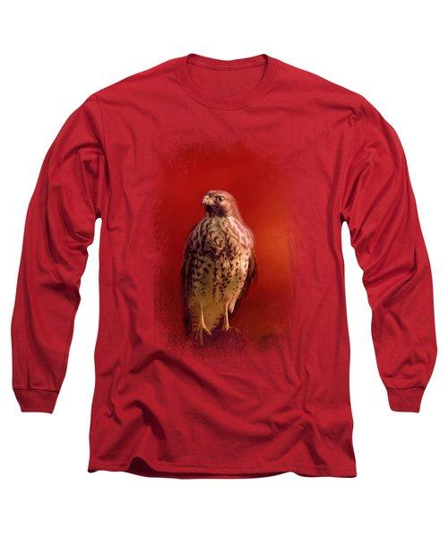 Hawk On A Hot Day Long Sleeve T-Shirt by Jai Johnson
