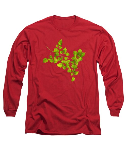 Long Sleeve T-Shirt featuring the mixed media Hawthorn Pressed Leaf Art by Christina Rollo