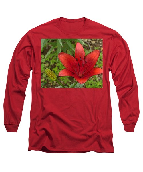 Hazelle's Red Lily Long Sleeve T-Shirt by Jana Russon