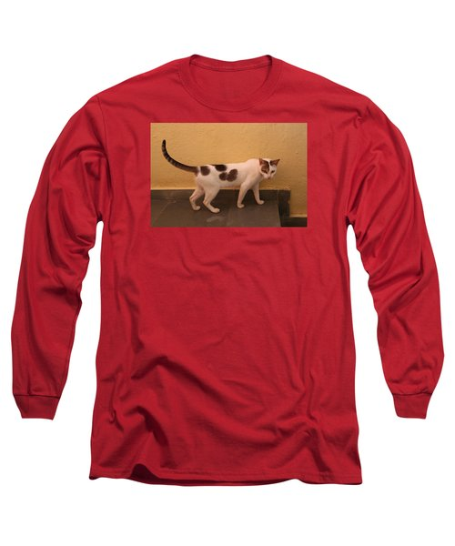 Heart Cat At Rosie's In Ganeshpuri Long Sleeve T-Shirt by Jennifer Mazzucco
