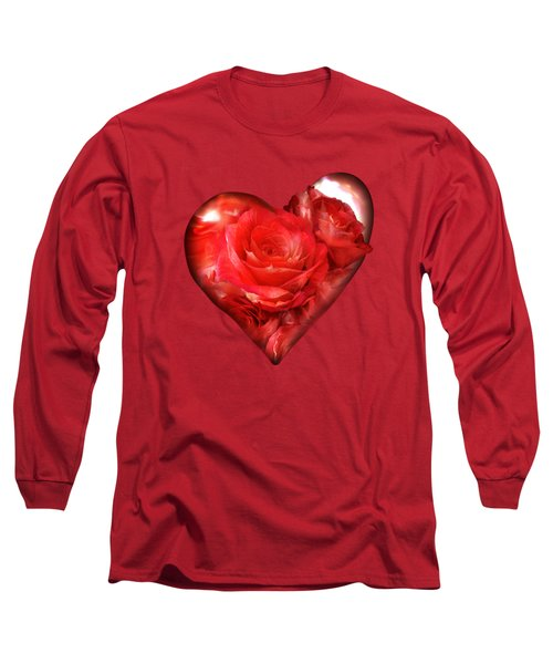 Heart Of A Rose - Red Long Sleeve T-Shirt