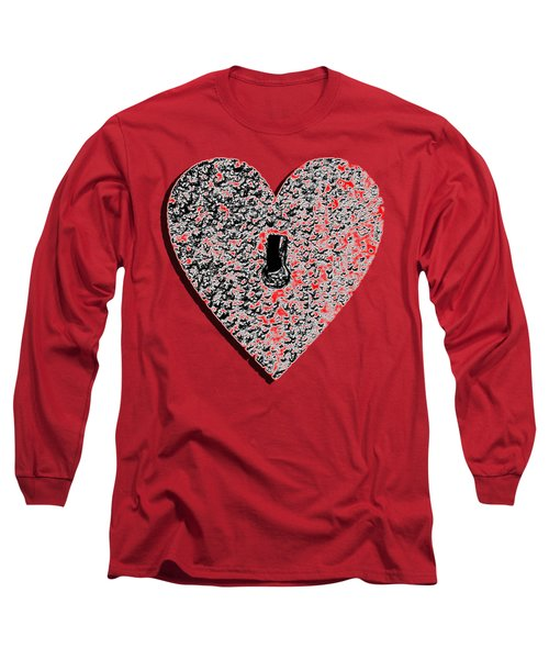 Long Sleeve T-Shirt featuring the photograph Heart Shaped Lock Red .png by Al Powell Photography USA