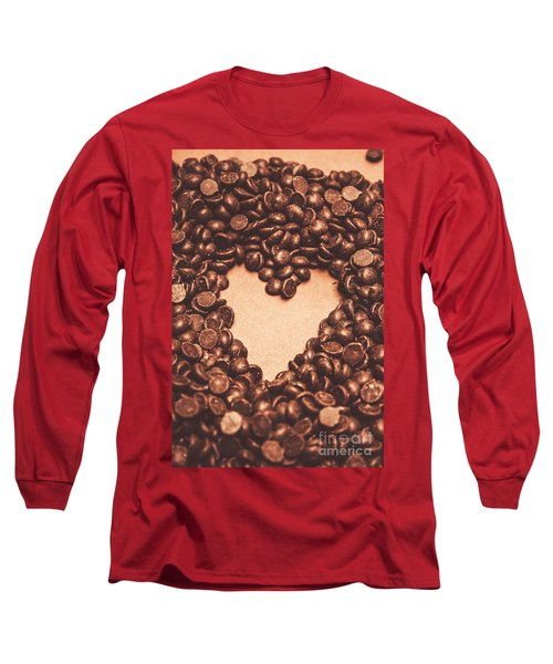 Hearts And Chocolate Drops. Valentines Background Long Sleeve T-Shirt