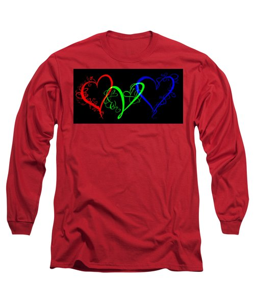 Hearts On Black Long Sleeve T-Shirt by Swank Photography
