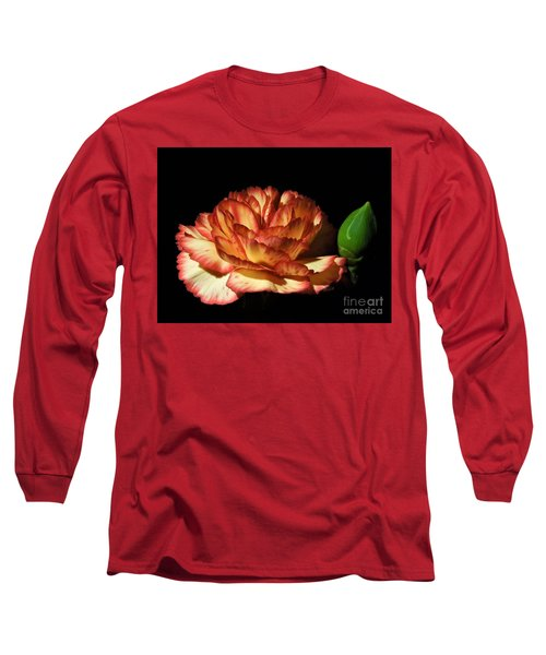 Heavenly Outlined Carnation Flower Long Sleeve T-Shirt