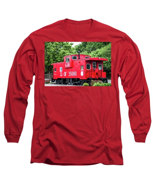Long Sleeve T-Shirt featuring the photograph Helena Red Caboose by Parker Cunningham
